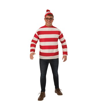 Adult Waldo Plus Size Where's Waldo Big & Tall Costume