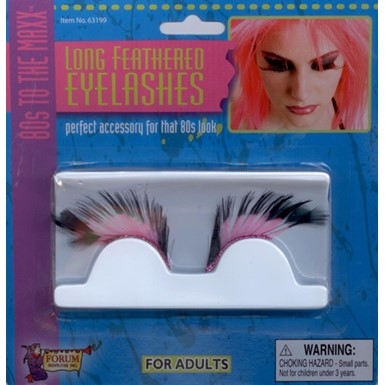 Black and Pink Long Eye Lashes 80's Costume Accessory