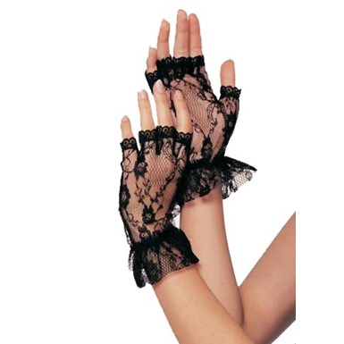 Black Lace & Ruffle Wrist Gloves for Costume