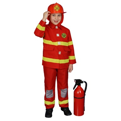 Boys Deluxe Red Fire Fighter Kids Halloween Costume