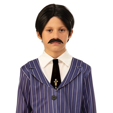 Boys Gomez Addams Family Child Costume Wig and Moustache