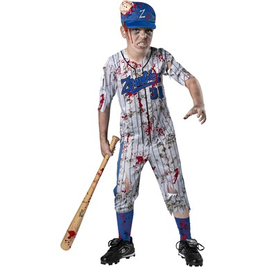 Boys Home Run Horror Child Zombie Baseball Player Costume