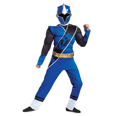 Boys Ninja Steel Blue Ranger Muscle Costume