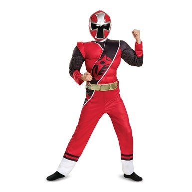 Boys Ninja Steel Red Ranger Muscle Costume