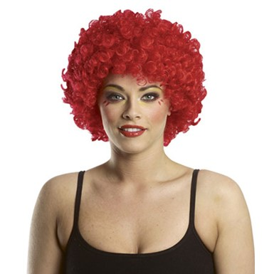 Bright Red Afro Adult Clown Halloween Costume Wig