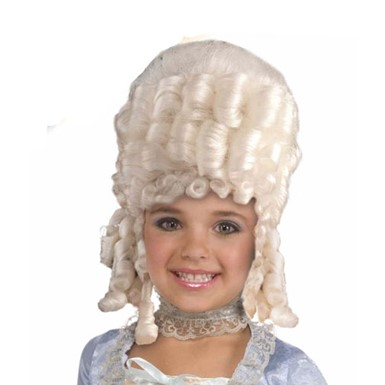 Child White Marie Antoinette Wig Historical Accessory