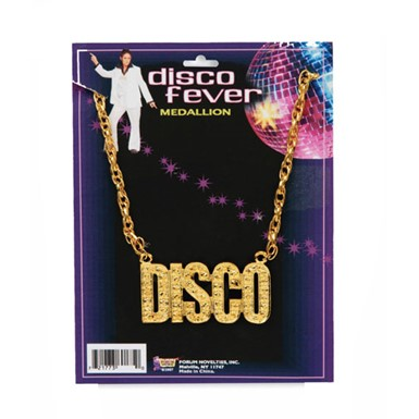 Disco 70's Necklace Gold Medallion Costume Accessory