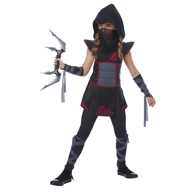 Girls Black Fearless Ninja Halloween Costume