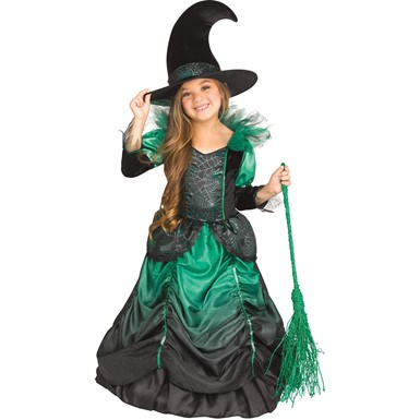 Girls Emerald Witch Child Halloween Costume