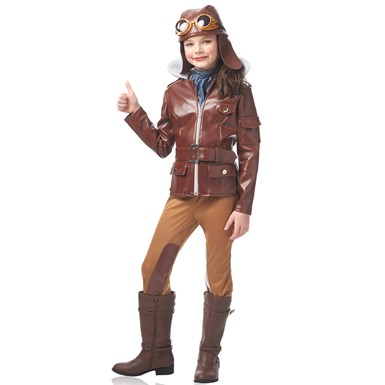 Girls Lady Lindy Aviator Halloween Costume  sc 1 st  Costume Kingdom & Girls Lady Lindy Amelia Earhart Costume u2013 Patriotic American Costumes