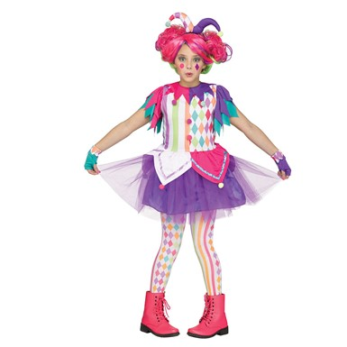 Girls Rainbow Harlequin Teen Halloween Costume