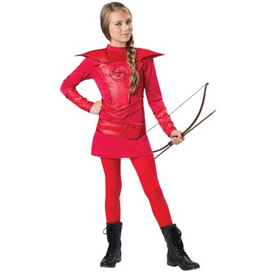Girls Tween Red Warrior Huntress Costume