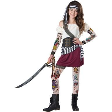 Girls Tween Tattoo Pirate Halloween Costume  sc 1 st  Costume Kingdom & Girls Tattoo Pirate Halloween Costume u2013 Tween Pirate Costumes and ...
