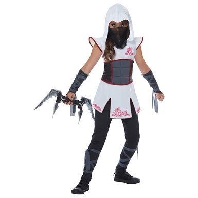 Girls White Fearless Ninja Halloween Costume
