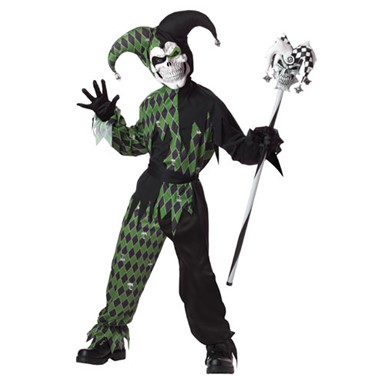 Green And Black Boys Evil Jester Halloween Costume