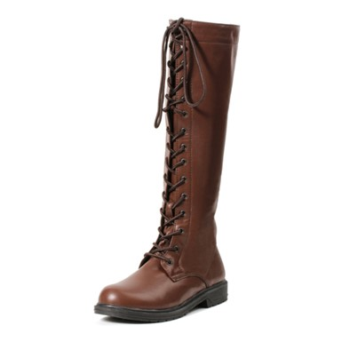Karina Brown Womens Lace Up Knee High Boots