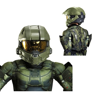 Kids Halo Master Chief Full Costume Helmet  sc 1 st  Costume Kingdom & Kids Halo Master Chief Full Costume Helmet u2013 Halo Video Game Costumes