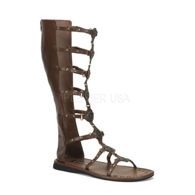 Mens Brown Tall Roman Warrior Halloween Sandals