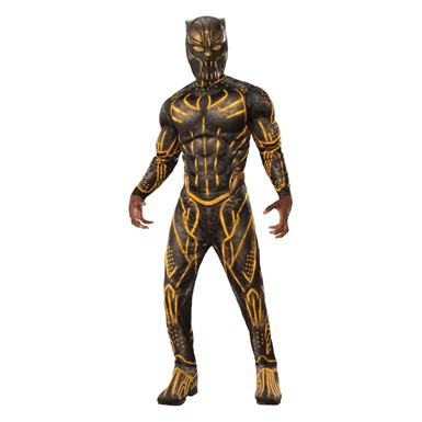 Mens Deluxe Black Panther Killmonger Battle Suit Costume