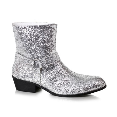 Mens Disco Fever Silver Glitter Calf