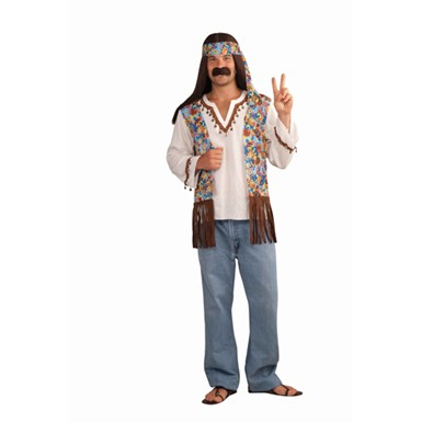Mens Hippie Groovy Costume Adult Halloween Set