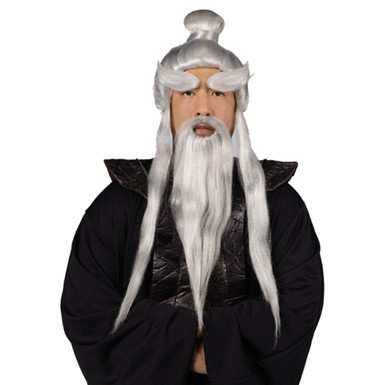 Sensei White Wig Beard and Eyebrow Set for Halloween Costume  sc 1 st  Costume Kingdom & Sensei Costume - Wig u0026 Beard - Mens Halloween Costumes