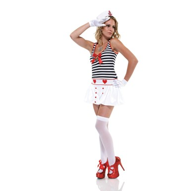 Sexy Striped Sailor Dress Womens Navy Costume
