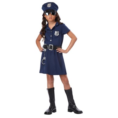 Tough Cop Girls Navy Police Halloween Costume