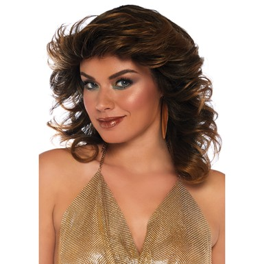 Womens Brown Farrah Feathered Costume Wig