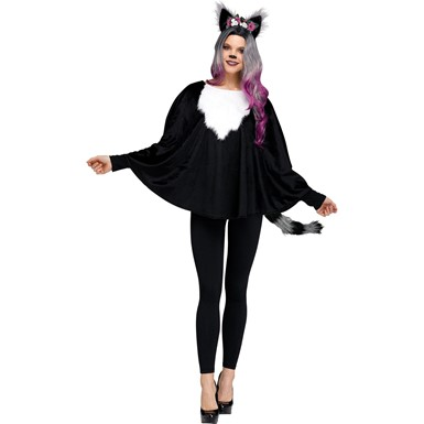 Womens Deluxe Raccoon Animal Poncho Costume size 4-14