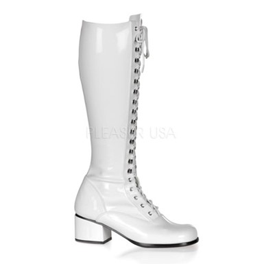 Womens White Patent Boots - Lace Up
