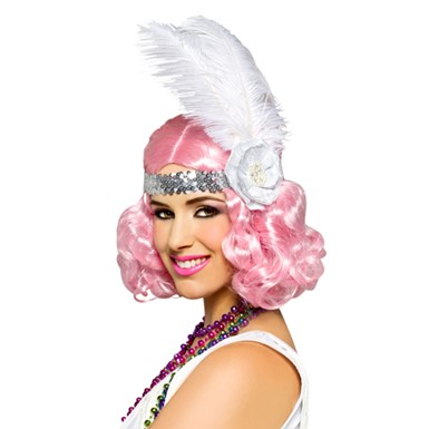 womens icy pink flapper halloween wig
