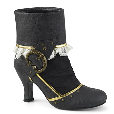 Womens Matey Pirate Black Ankle Booties with Buckle