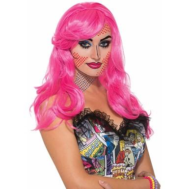 womens pop art katie kapow pink costume wig