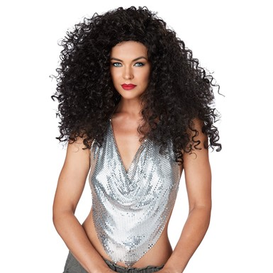 Womens Sexy Disco Diva Do Brunette 70s Costume Wig