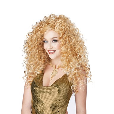 Womens Sexy Disco Diva Do Dirty Blonde 70s Costume Wig
